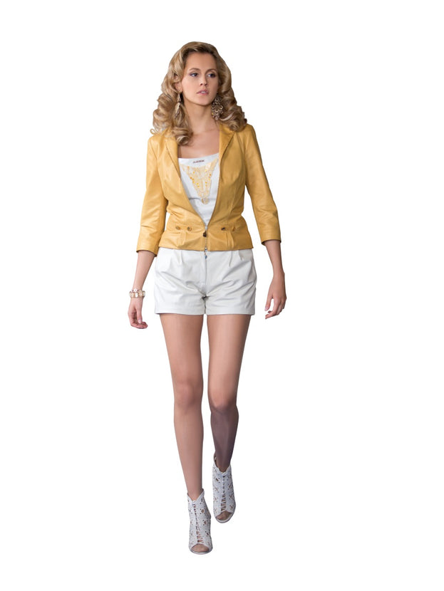Rhinestone Ochre Yellow Reindeer Leather Jacket- Limited Edition