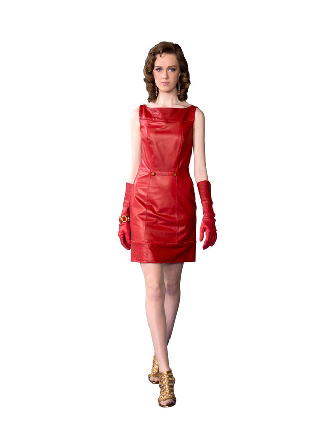 Rhinestone Perforated Reindeer Leather Dress- Limited Edition