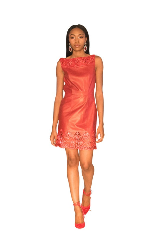 Sequin Lace Reindeer Leather Evening Dress- Limited Edition