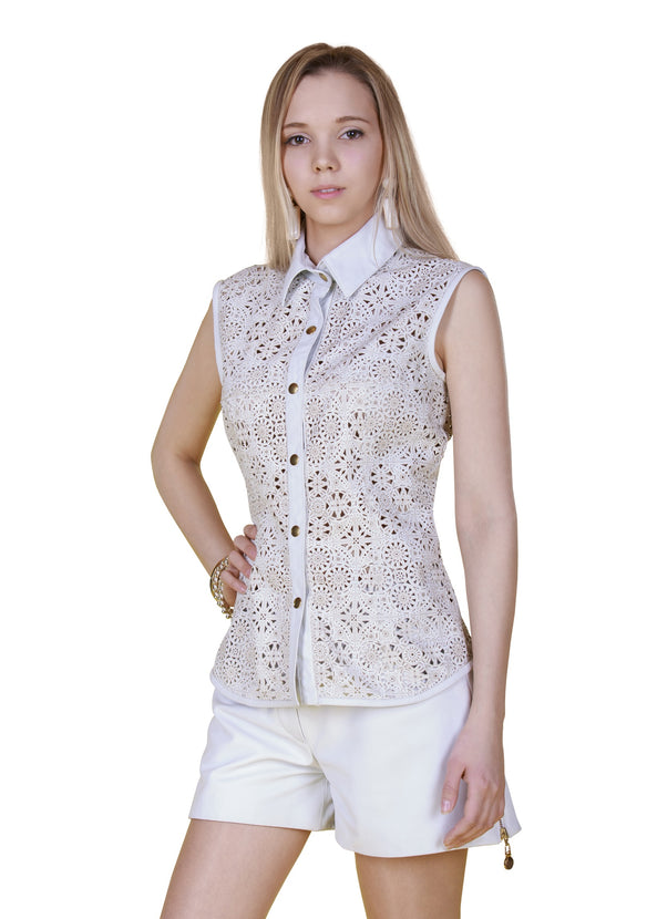 Sleeveless Laser Cut Reindeer Leather Shirt- Limited Edition