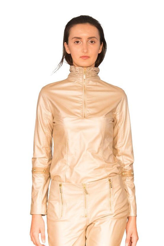 Turtle Ruched Neck Reindeer Leather Blouse- Limited Edition