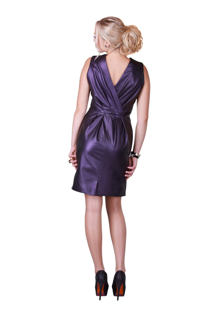 Violet Back Draped Reindeer Leather Dress- Limited Edition