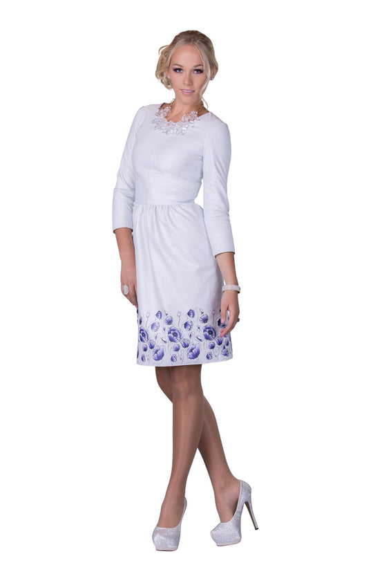White Printed Reindeer Leather Sleeved Dress- Limited Edition