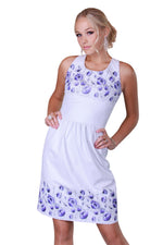 White Printed Reindeer Leather Sleeveless Dress- Limited Edition
