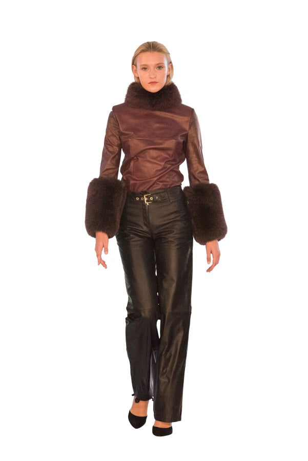 Rex Rabbit Turtle Neck Reindeer Leather Blouse- Limited Edition
