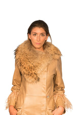 Raccoon Ostrich Feathers Reindeer Leather Trench- Limited Edition