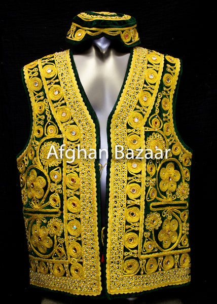 Black Velvet Vest with Extensive Chirma Dozee and Mirrors - Afghan Bazaar
