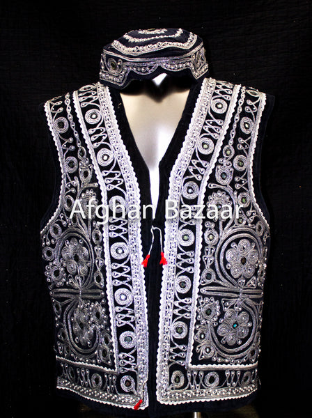 Black Velvet Vest with Extensive Silver Chirma Dozee with Mirrors - Afghan Bazaar