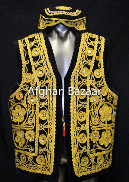 Black Velvet Vest with Gold Chirma Dozee with Mirrors - Afghan Bazaar