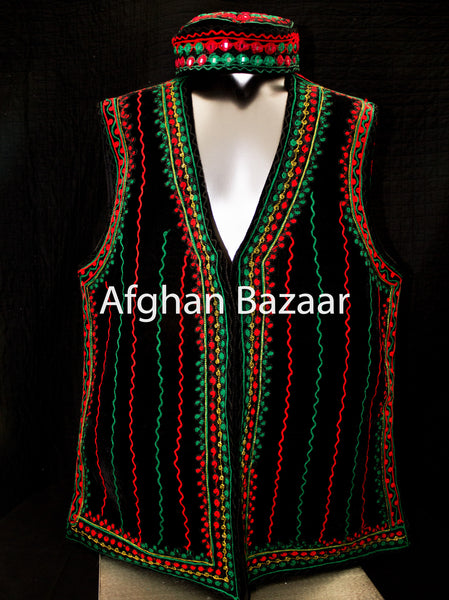 Black Velvet Vest with Red and Green Embroidery - Afghan Bazaar