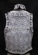 Black Velvet Vest with Silver Chirma Dozee with Mirrors - Afghan Bazaar