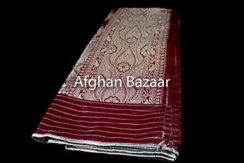 Burgundy and Gold Shawl Banarasi - Afghan Bazaar