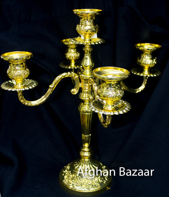 Candle Holder Gold - Afghan Bazaar