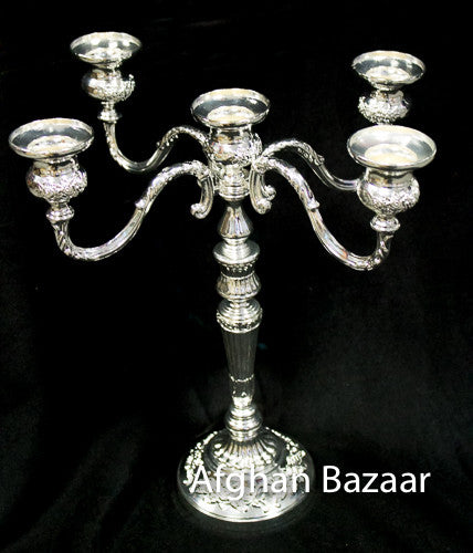 Candle Holder Silver - Afghan Bazaar
