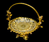 Gold Plate Basket for Lavz with Rhinestone - Afghan Bazaar