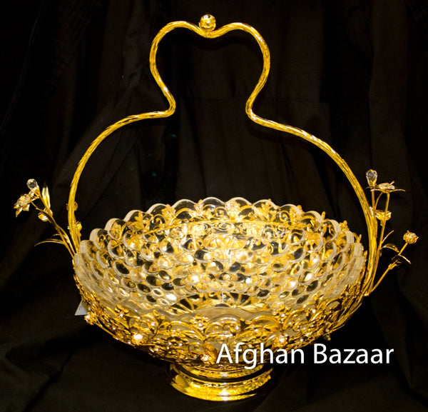 Gold Plate Basket for Lavz or Shernee Round - Afghan Bazaar