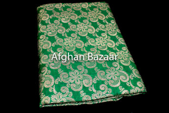 Green and Gold Shawl Banarasi - Afghan Bazaar