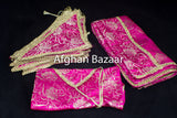 Hot Pink with Gold Flowers Henna Wrap with Mirror Cover and Koran Cover - Afghan Bazaar