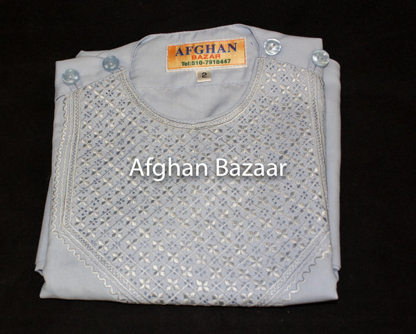 Afghan Boys Clothing Baby Blue with Baby Blue Embroidery - Afghan Bazaar