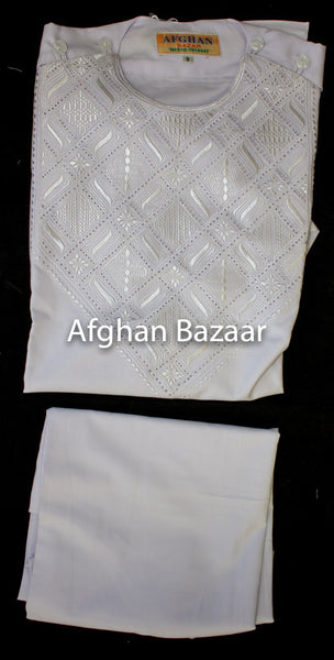 Afghan Boys Clothing White with White Embroidery - Afghan Bazaar