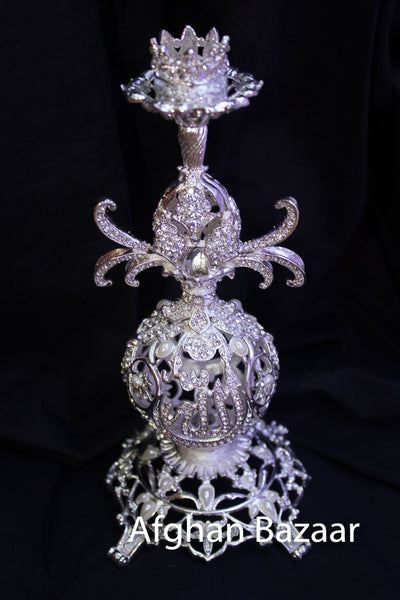 Candle Holder One Piece Silver - Afghan Bazaar