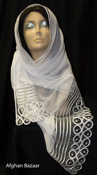 Scarf - White color - Afghan Bazaar