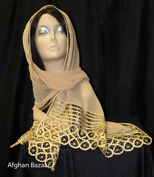 Scarf - Gold color - Afghan Bazaar