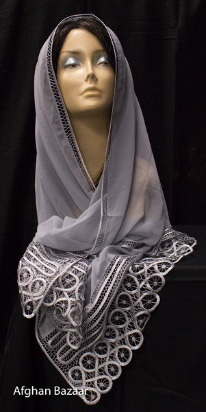 Scarf - Gray Color - Afghan Bazaar