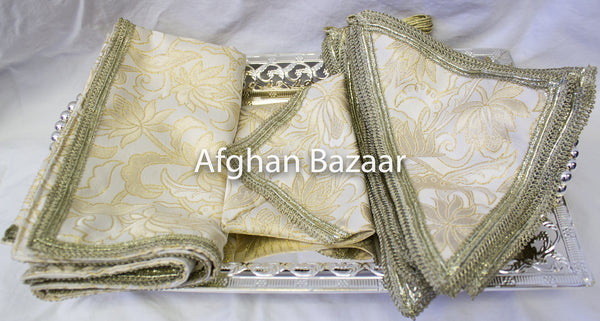 Ivory and gold Henna Wrap with Mirror Cover and Koran Cover - Afghan Bazaar