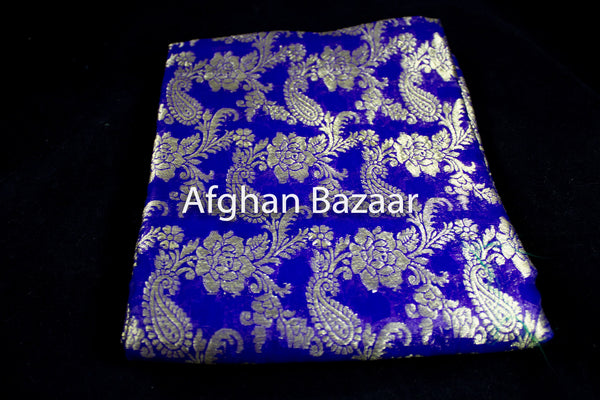 Lapis and Gold Shawl Banarasi - Afghan Bazaar