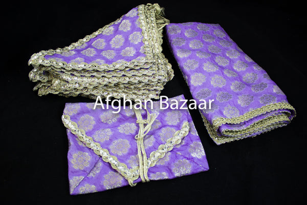 Lavender and Gold Flower Henna Wrap with Mirror Cover and Koran Cover - Afghan Bazaar