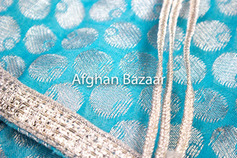 Light Blue and Silver Henna Wrap with Mirror Cover and Koran Cover - Afghan Bazaar