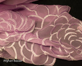 Georgette Silk Scarf with Flower Pattern - Afghan Bazaar