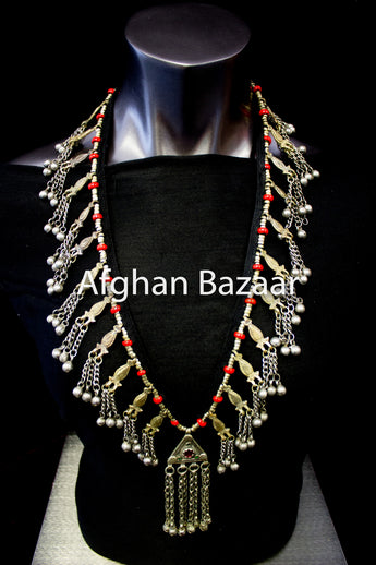 Long Antique Afghan Necklace with Faux Coral - Afghan Bazaar
