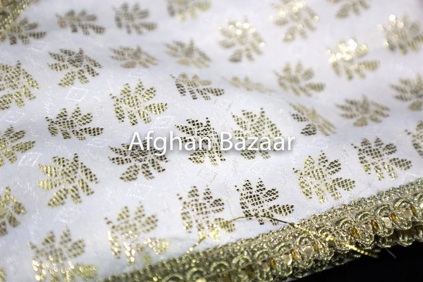 Off White and gold Henna Wrap with Mirror Cover and Koran Cover with Leaf Pattern - Afghan Bazaar