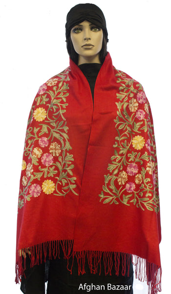 Embroidered Shawl - Red - Afghan Bazaar