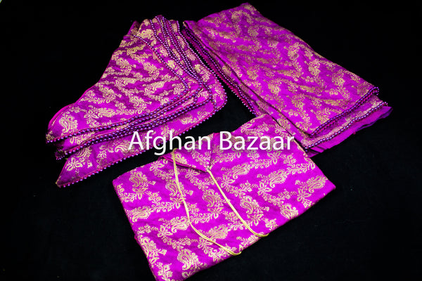Purple and Gold Flower Henna Wrap with Mirror Cover and Koran Cover - Afghan Bazaar