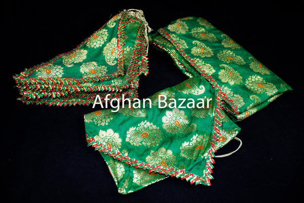 Red, Green and Gold Henna Wrap with Mirror Cover and Koran Cover - Afghan Bazaar