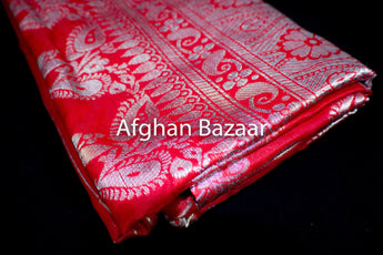 Red and Silver Shawl Banarasi - Afghan Bazaar