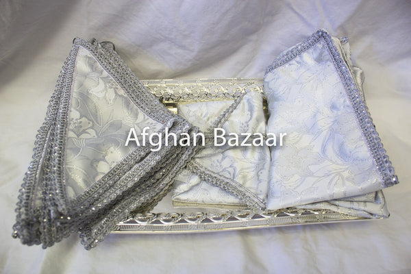 Silver and White Henna Wrap with Mirror Cover and Koran Cover - Afghan Bazaar