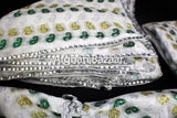 White with Green, Yellow, Sillver Pattern Henna Wrap with Mirror Cover and Koran Cover - Afghan Bazaar