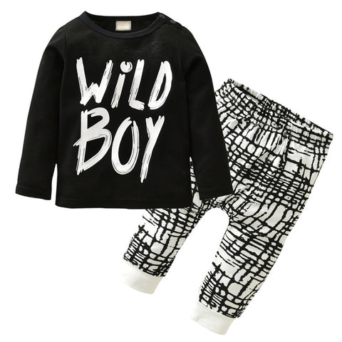 Long-sleeved Black and white Wild Boy set