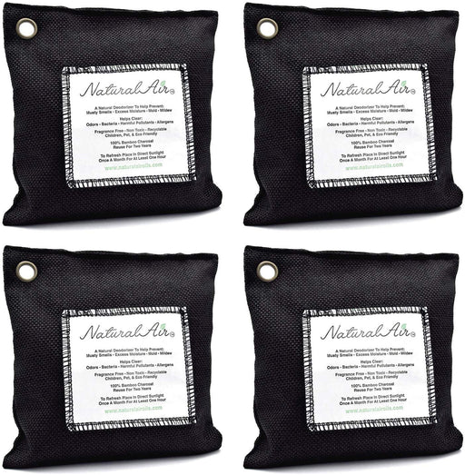 Natural Air™ - Bamboo Charcoal Air Purifying Bag Black, 200 gram (4 pk) - dollarscentclub
