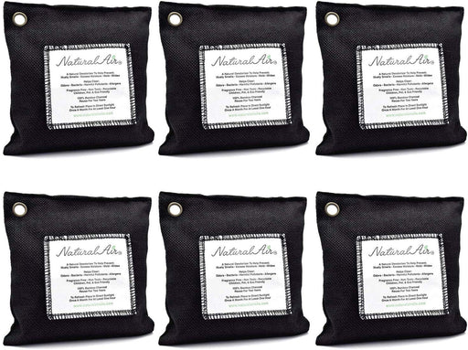 Natural Air™ - Bamboo Charcoal Air Purifying Bag Black, 200 gram (6 pk) - dollarscentclub