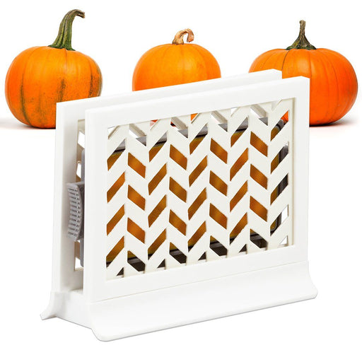 Décor Station - Chevron White / Pumpkin Spice - dollarscentclub