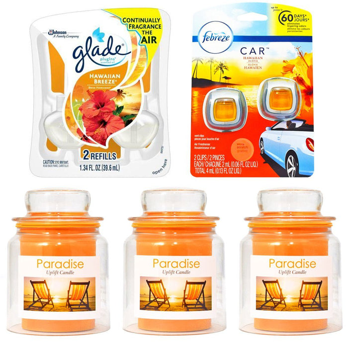 glade air fresheners, Orange small non-wick wickless candles, orange car air fresheners