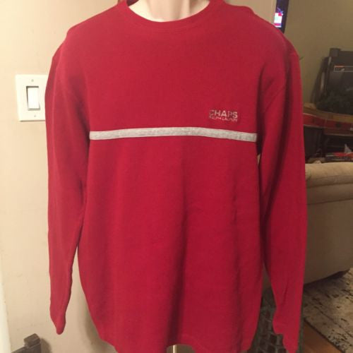 efe9ca3b8 Chaps Ralph Lauren Patch Elbow Lg Long Red Pullover Sweater Top 100% Cotton