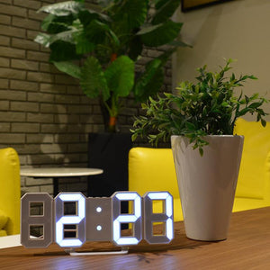 3D Digital Clock Clock GEEKS1024 White