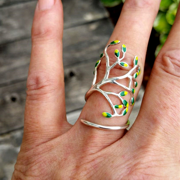 Olive Tree Silver Ring