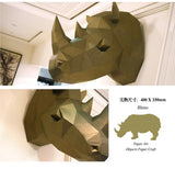 Load image into Gallery viewer, Rhinoceros Rhino Head Papercraft Wall Decoration